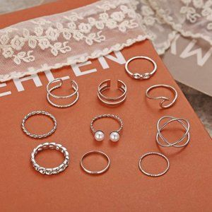 Stackable Rings Set for Women, Bohemian Silver